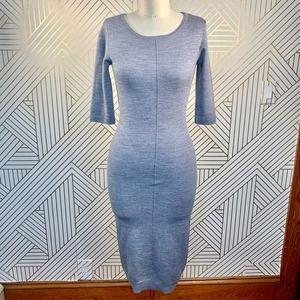 Intermix Merino Wool Bodycon Sweater Dress Gray